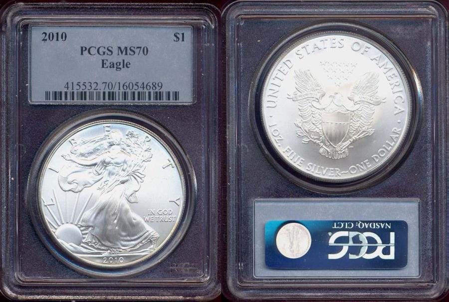 US Coins - 2010 SILVER EAGLE $1  PCGS MS70