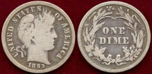 Us Coins - 1893 BARBER 10c ..... VERY GOOD
