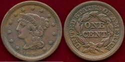Us Coins - 1854  1c  VERY FINE