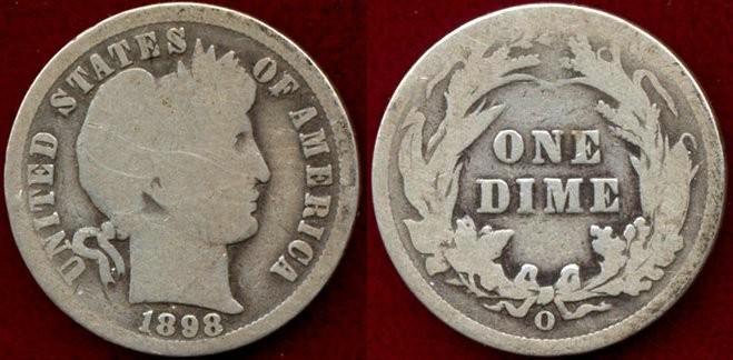 US Coins - 1898-O BARBER 10c  GOOD