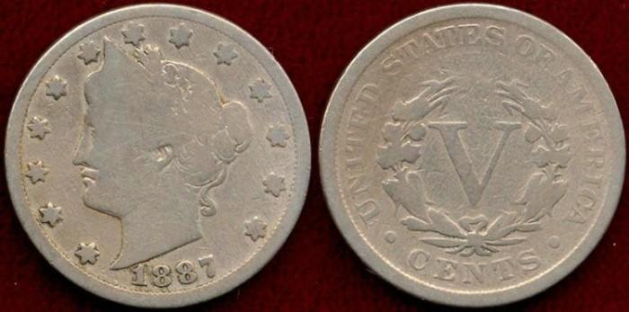 US Coins - 1887 LIBERTY 5c ...  GOOD