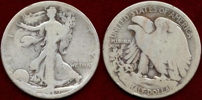US Coins - 1919-D   50c   About GOOD