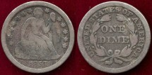 Us Coins - 1857  SEATED  10c  VG