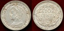 World Coins - NETHERLANDS 1919  10 CENTS ...  About UNC
