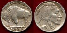 Us Coins - 1937-D 3 LEG BUFFALO 5c  XF