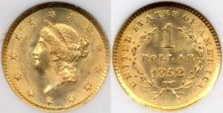Us Coins - 1852 $1 GOLD LIBERTY  NGC MS65