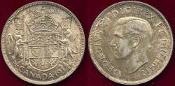 World Coins - CANADA 1937  50c  Original  AU   GEORGE VI