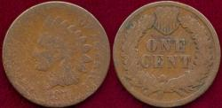 Us Coins - 1874 INDIAN 1c  GOOD
