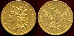 Us Coins - 1838  Classic $5 GOLD ... Choice About UNCIRCULATED