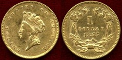 Us Coins - 1855 $1 GOLD .....  about UNCIRCULATED  NGC GRADED