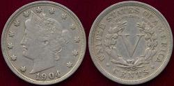 Us Coins - 1904 LIBERTY 5c XF