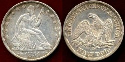 Us Coins - 1854-O  50c  About UNCIRCULATED