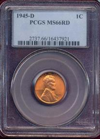 US Coins - 1945-D LINCOLN CENT MS66RD PCGS  BEAUTY