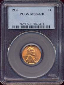 US Coins - 1937 LINCOLN CENT MS66RD PCGS