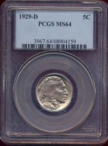 US Coins - 1929-D BUFFALO 5c  PCGS MS64  GREAT EYE APPEAL!