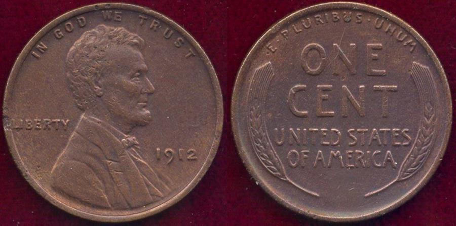 US Coins - 1912 LINCOLN 1c XF+