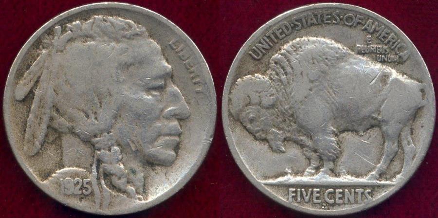 US Coins - 1925-S  BUFFALO 5c  FINE ... SHARP DATE