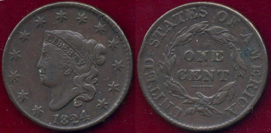 US Coins - 1824 LARGE CENT  VF