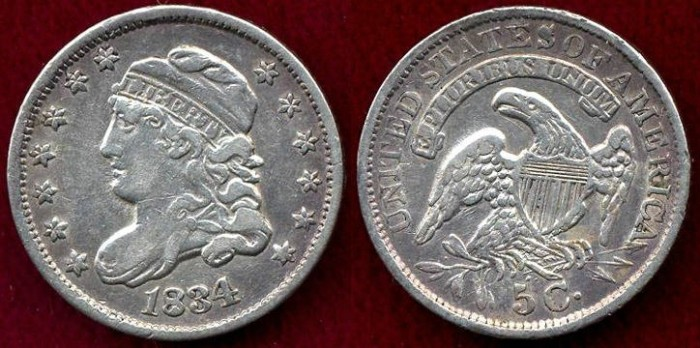 US Coins - 1834  BUST  1/2 DIME  XF40