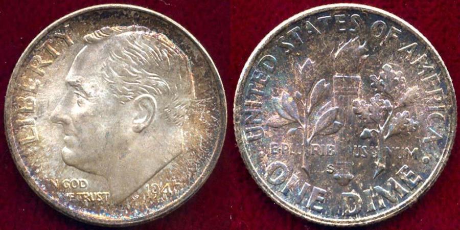 US Coins - 1947-S ROOSEVELT 10c  MS68   FANTASTIC BEAUTIFUL  TONING