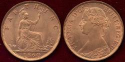 World Coins - GREAT BRITAIN 1860   FARTHING... GEM BU (MS65 RED)