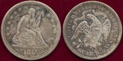 Us Coins - 1876-S  SEATED  25c   XF45