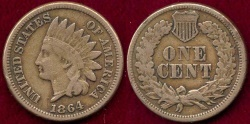 Us Coins - 1864 CN  INDIAN 1c  FINE+