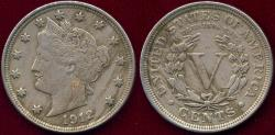 Us Coins - 1912 LIBERTY 5c XF
