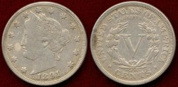 Us Coins - 1891 LIBERTY 5c .... VERY FINE