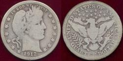 Us Coins - 1912-S BARBER 25c  GD+