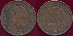 World Coins - FRANCE 1863 K  10 CENTIMES  VF