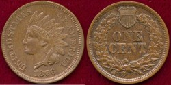 Us Coins - 1866 INDIAN 1c .... MS63  UNCIRCULATED