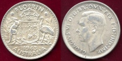 World Coins - AUSTRALIA  1943  FLORIN  AU