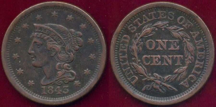 US Coins - 1843 MATURE HEAD, Large Letters 1c  XF