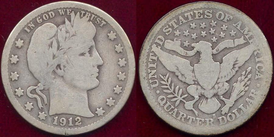 US Coins - 1912-S BARBER 25c  GD+
