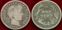 Us Coins - 1894  BARBER 10c VERY GOOD