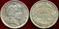 Us Coins - 1907  BARBER 10c  Choice about UNCIRCULATED