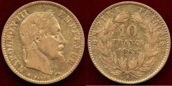 World Coins - FRANCE 1863-A  GOLD 10 FRANC