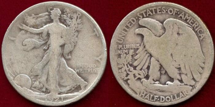 US Coins - 1921-D  WALKING 50c ......GOOD