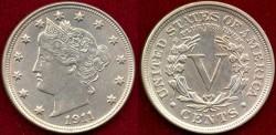Us Coins - 1911   LIBERTY  5c ... MS64