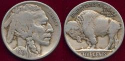 Us Coins - 1921-S BUFFALO NICKEL  VF/F+