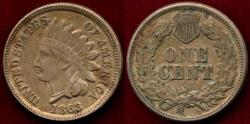 Us Coins - 1863 INDIAN 1c  XF45