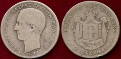 World Coins - GREECE 1873A .. 2 DRACHMA ...  FINE