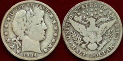 Us Coins - 1904  BARBER 50c.....  VERY GOOD+