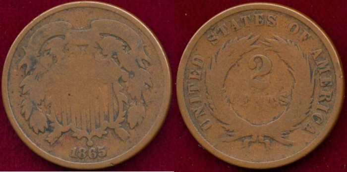 US Coins - 1865 TWO CENT ..  GOOD