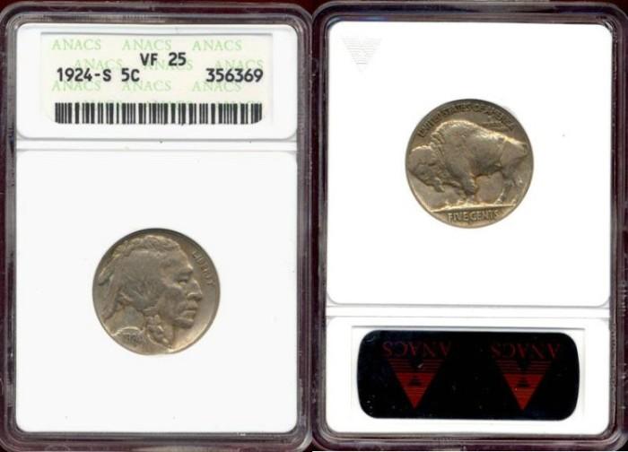 US Coins - 1924-S BUFFALO 5c ....  ANACS  VF25
