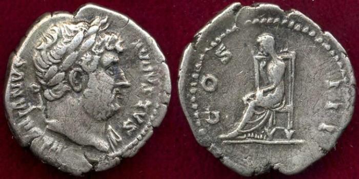 Ancient Coins - HADRIAN 128 AD ..   DENARIUS