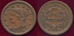Us Coins - 1853 LARGE 1c  XF