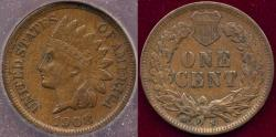 Us Coins - 1908-S INDIAN 1c AU