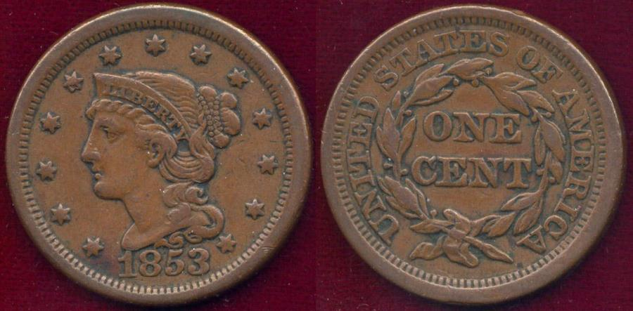 US Coins - 1853 LARGE CENT  XF